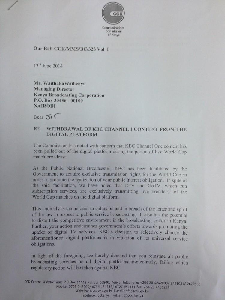 CCK letter to KBC-1
