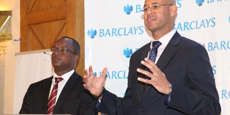 Barclays Bank of Kenya Managing Director Jeremy Awori addresses members of the press when the bank announced their half year financial results in the period ending June 30th 2014 on 12th August 2014.