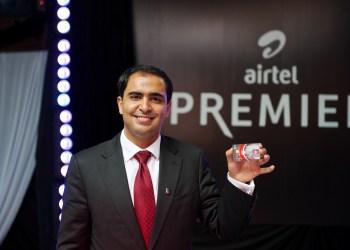 Airtel Kenya CEO Adil El Youssefi displays the Airtel Money Premier VISA card