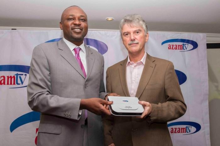 Rhys Torrington, Chief Executive- Azam media, (Right) Martin Abuya, General Manager- Azam Media Kenya