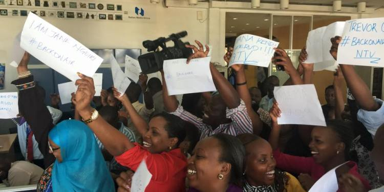 Jubilant NTV journalists after news of station resume