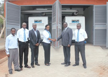 Right to left: Martin Gwada (Power Product Manager, Davis and Shirtliff's ), Albert Waweru, (Chairman of Ruaraka Housing Estate Limited) Margaret Kuchio (General Manager Sales, Davis and Shirtliff), Julius Riungu (Engineer, MAK Consulting Ltd) and Simon Shikuku (Lead Project Engineer, Davis and Shirtliff) during the commissioning of the two 250kVA Dayliff Yanan synchronised standby generators for Safari Business Arcade