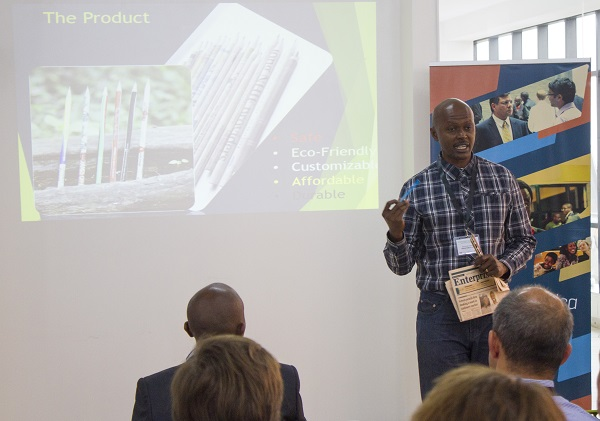 Antony Kirori CEO Green Pencils Ltd pitching at Green Pioneer Venture Forum
