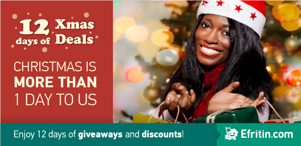 Efritin.com rewards Buyers and Sellers with 12 days of Christmas discounts and giveaways.