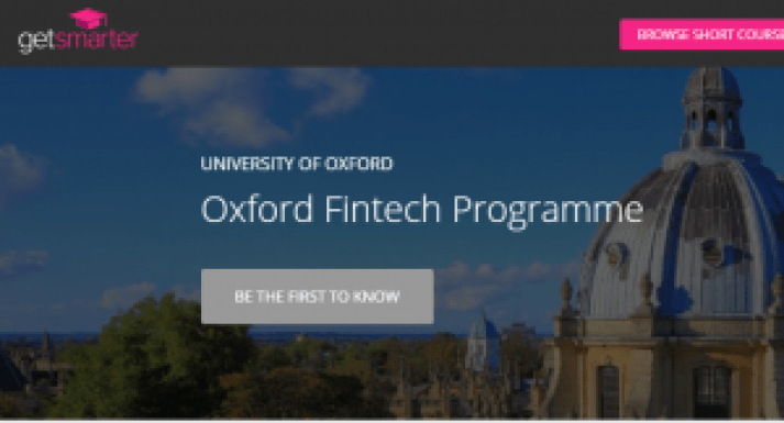 Oxford University and Get Smarter Launch FinTech Programme