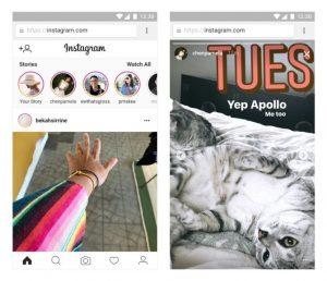 Instagram stories mobile web and desktop