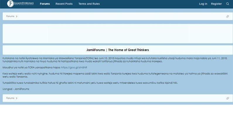 Tanzania government shuts down Jamii Forums curtailing free speech