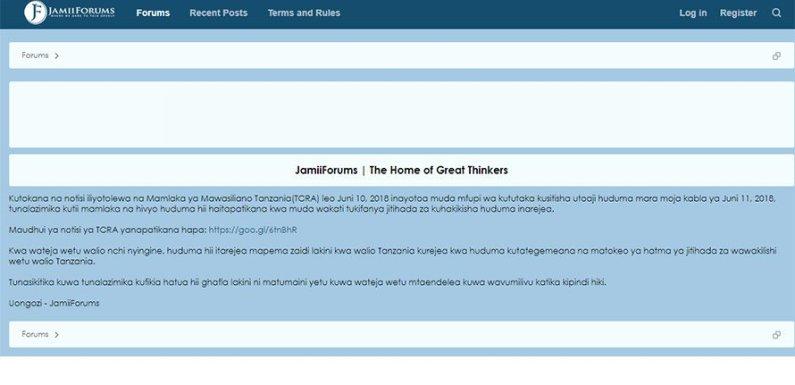 Tanzania government shuts down Jamii Forums curtailing free speech