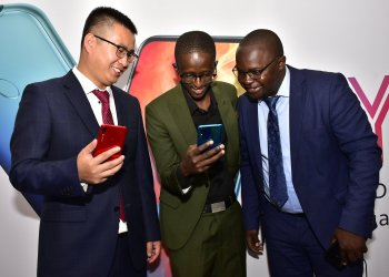 Steven Li, Huawei's Head of Eastern Africa Mobile, popular comedian and influencer Njugush and  Derrick Alenga, Training Manager