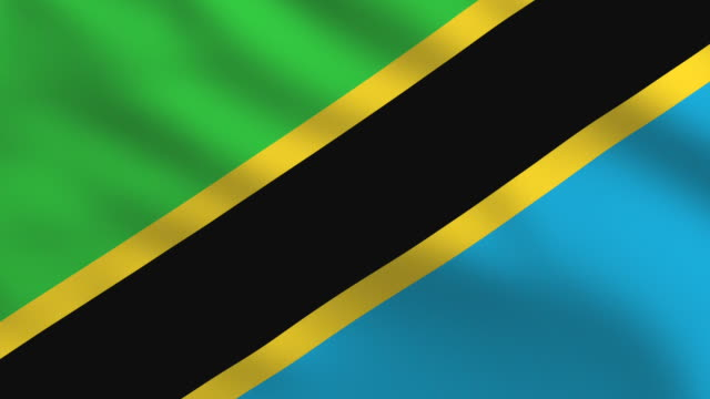 Flag of Tanzania. Full frame, loopable and realistic. High Definition 1920x1080 Format.