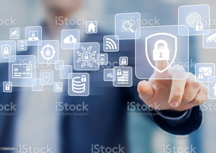 Cybersecurity on internet, secure network connection and cloud, personal data protection and privacy, technology against email phishing, fraud and cybercrime, business person touching screen