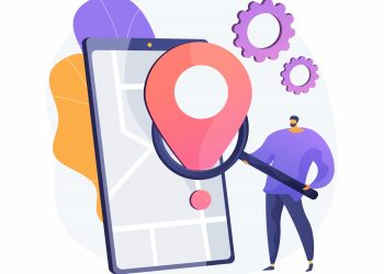 Mobile tracking soft abstract concept vector illustration. Monitoring software, navigation mobile app, gps tracking application, anti-theft soft, kids parental control, spy tool abstract metaphor.