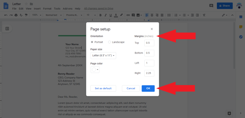 change margin using page setup box