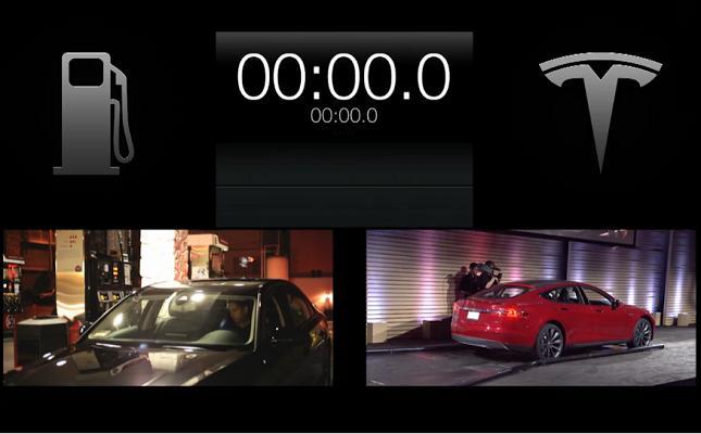 Watch Tesla EV Battery Pack Swap Tech Beat a Gas Pump