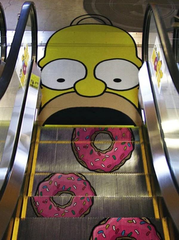homer simpson escalator donuts cartoon