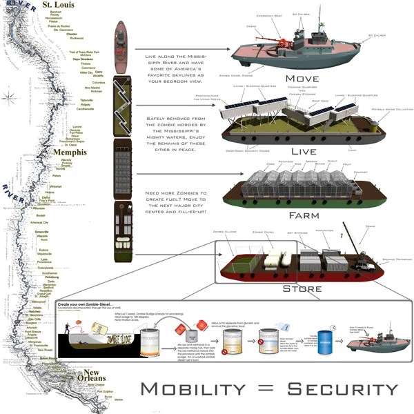 zombie riverboat survival apocalypse design