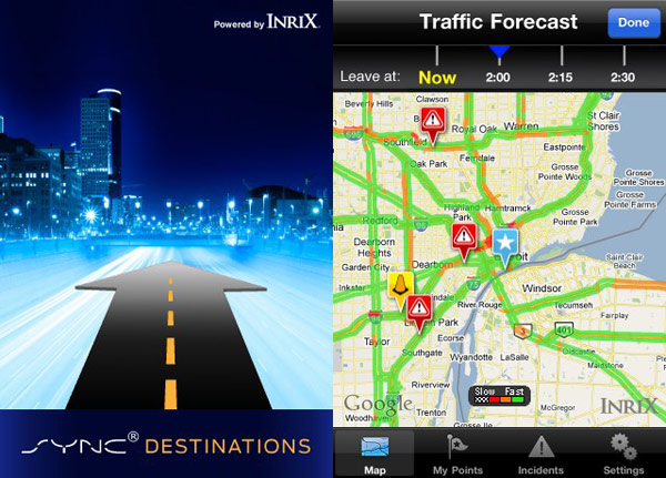 ford sync destinations app software iphone android mobile gps
