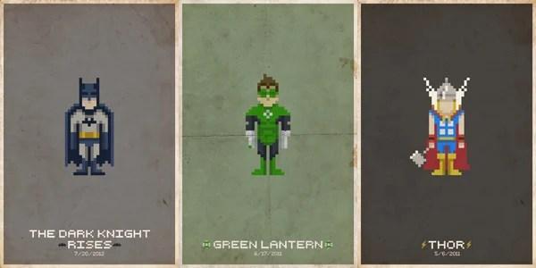 pseudo michael myers thor green lantern avengers batman posters pixel