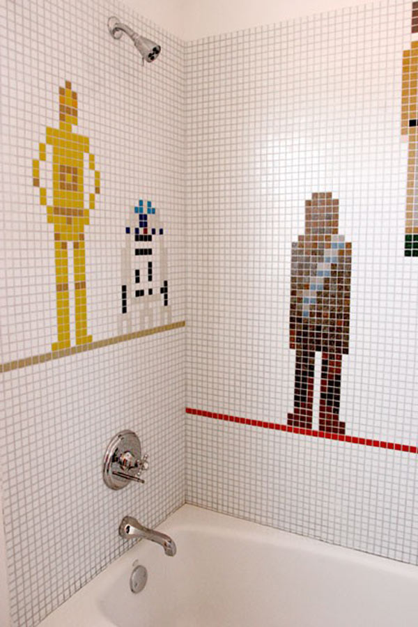Star Wars Bathroom Tile Mosaic Watches You C3PeeOing and Going Number R2D2  Technabob