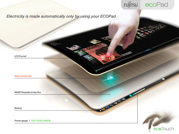 ecopad designboom fujitsu concept design korea competition tablet