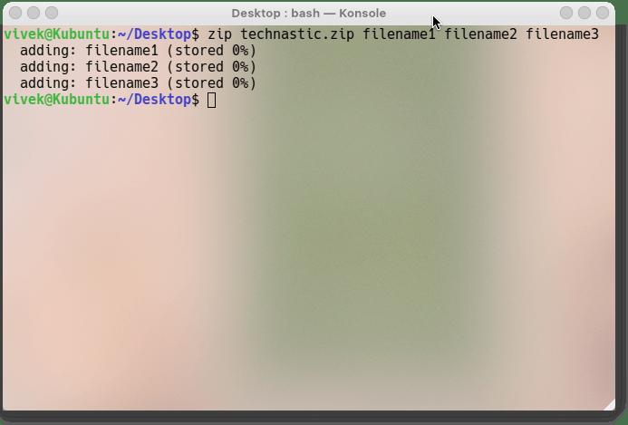 zip files in Ubuntu