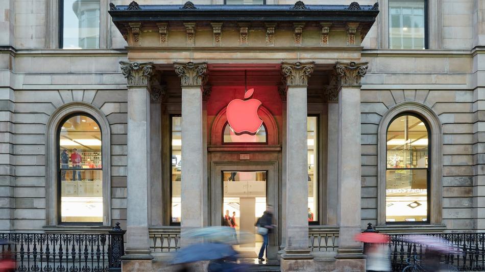 세계 에이즈의 날을 맞아 애플스토어의 로고를 빨간색으로 바꾼 애플