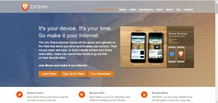 광고 차단 엔진(Ad-blocking engine)을 장착한 Brave 웹브라우저
