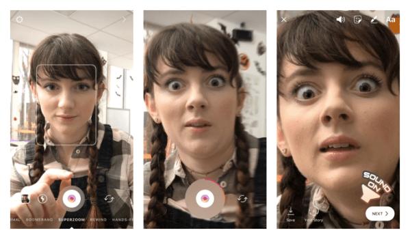 인스타그램, 클로즈업 비디오 촬영을 위한 수퍼줌 기능 추가