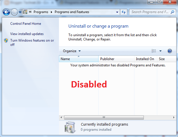 Disable Installed Programs from