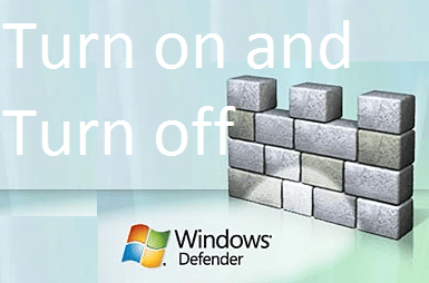 Turn On or Turn Off Windows Defender