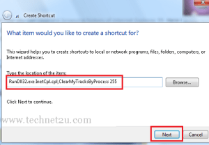Create Shortcut to Delete Browsing History