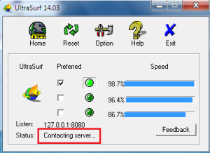 Ultrasurf Contacting Server