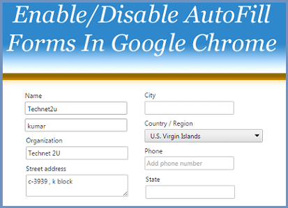 Enable/Disable Autofill Forms
