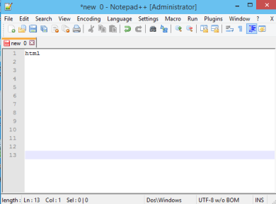 Notepad++ in Windows 10.