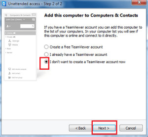 Setup Unattended Access on Teamviewer