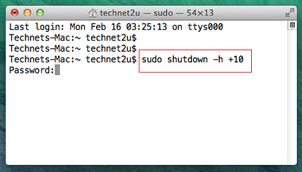 Shutdown Mac OS Using Terminal