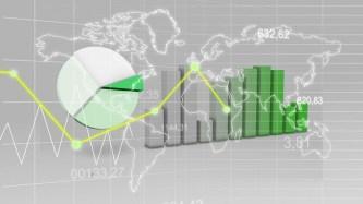 Weltkarte mit Statistik Green Finance 3D Hintergrund