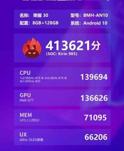 Kirin 985 5G Chip achieves over 400,000 in AnTuTu