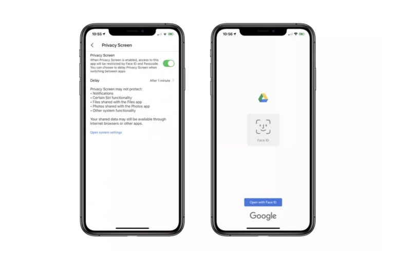 The Google Drive app for iOS supports Face ID and Touch ID