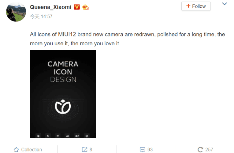 The redesigned icons of the MIUI 12 Camera App are displayed online