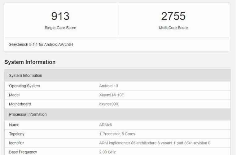 Xiaomi Mi 10e with Exynos 990 processor discovered on Geekbench