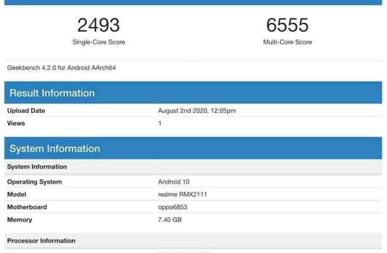 Realme V5 is GeekBench with Soity 720 SoC and 8 GB RAM