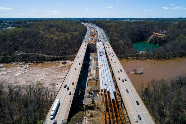 A highway construction project adds three lanes to the I-95 Rappahannock River Crossing in Fredericksburg, Va.