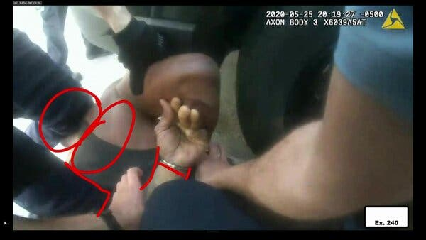 A still image from body camera video footage of George Floyd's arrest was shown in court on Tuesday.