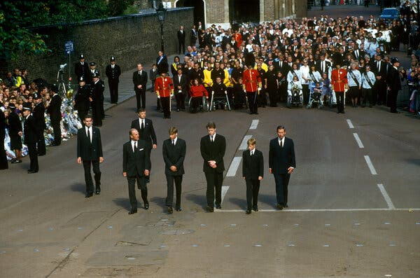 Front from left, Prince Philip, Prince William, Earl Spencer, Prince Harry and Prince Charles at the funeral of Princess Diana in 1997.