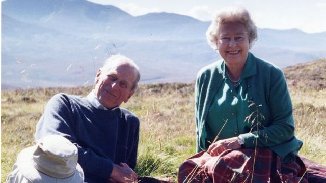The Queen has released a photo of herself and her husband relaxing in the Scottish Highlands in 2003. Pic: The Countess of Wessex