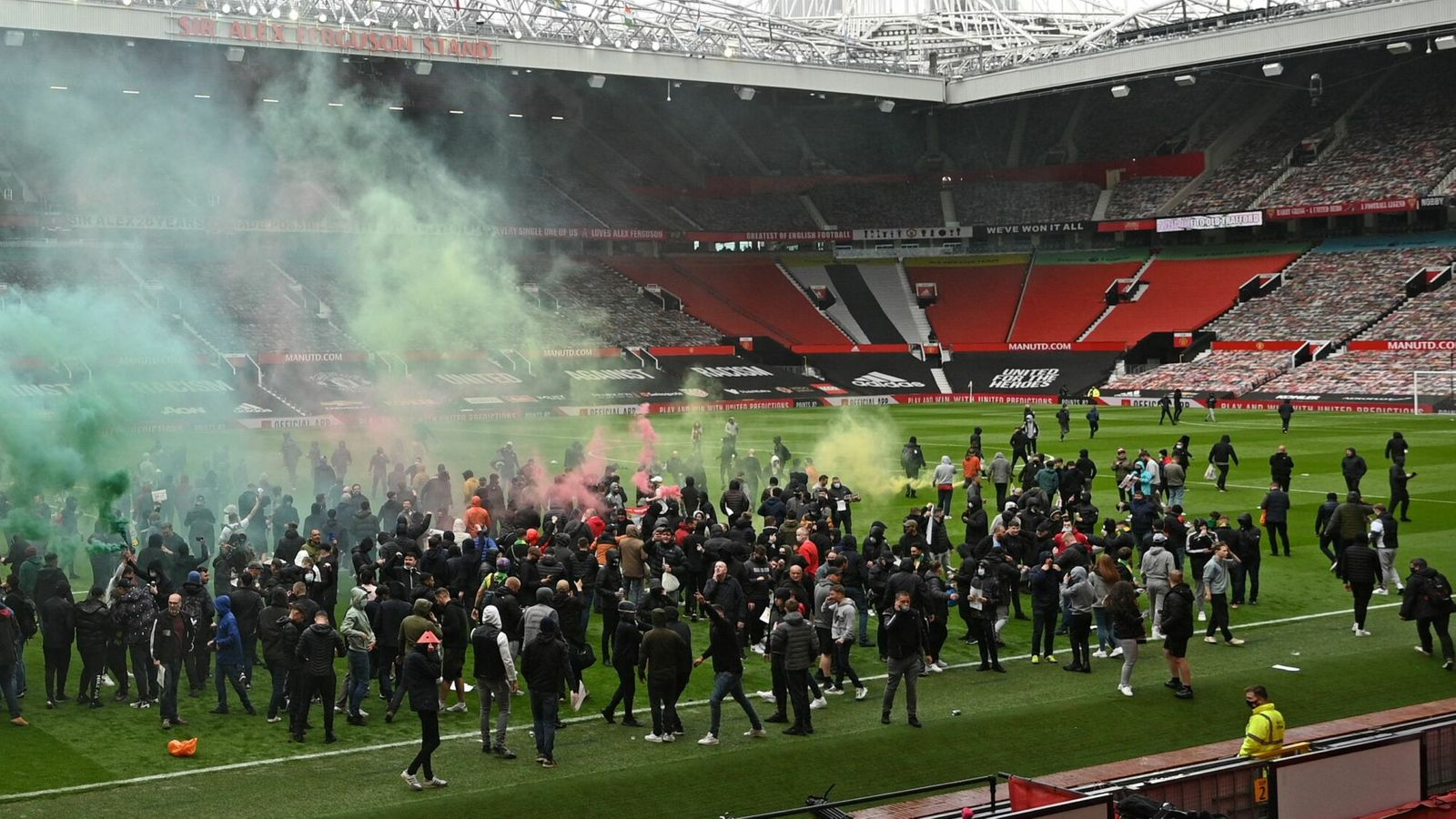 Manchester United fans broke into Old Trafford and protested on the pitch