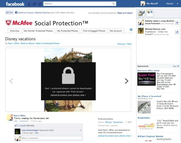 Protect your Facebook photos with McAfee app
