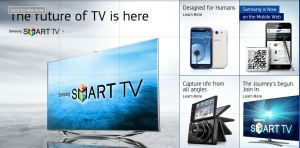 Lineup of Samsung products featuring Smart TV,Galaxy S3, Galaxy Note, and Samsung Camera