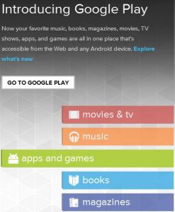 Google Play Store introduction page